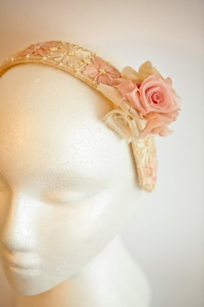 Silk Ribbon Embroidered Head Band with Silk Rosette by The Vintage Couturiere Olivia Torma