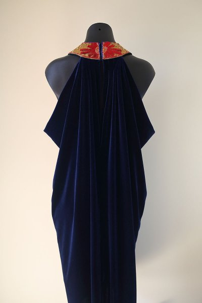 Antiquities Inspired Draped Velvet Jersey Evening Dress by The Vintage Couturiere