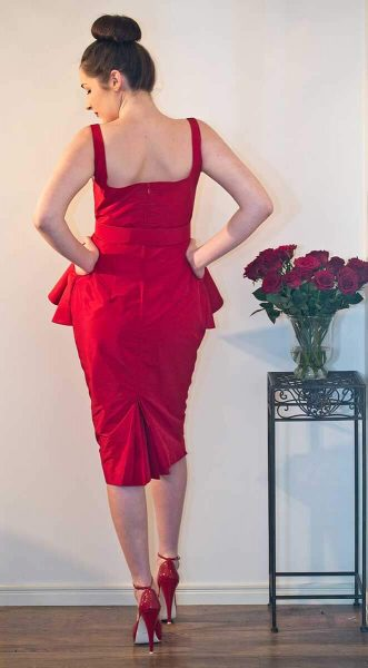 Vintage Inspired Red Taffeta Cocktail Dress by The Vintage Couturiere
