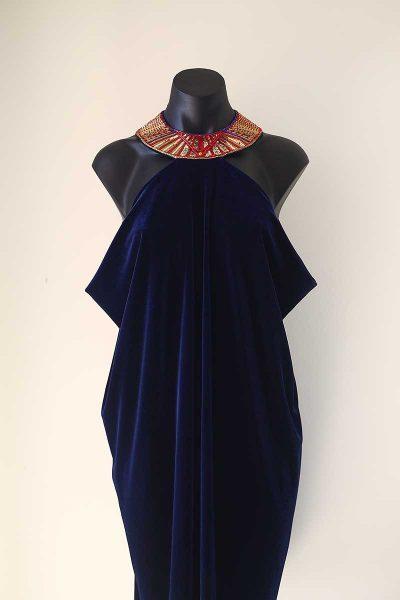 Embroidered Velvet Evening Dress Designed by Olivia Torma