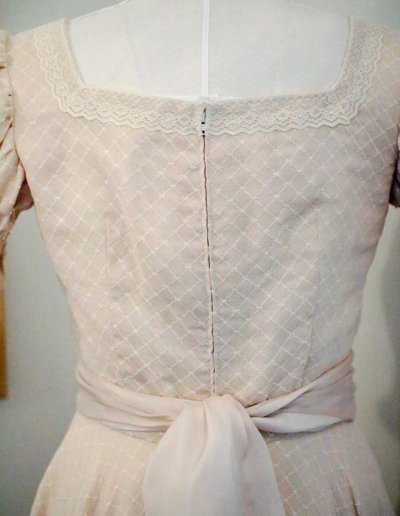 1940's vintage English cotton voile smocked tea dress designed by The Vintage Couturiere Olivia Torma
