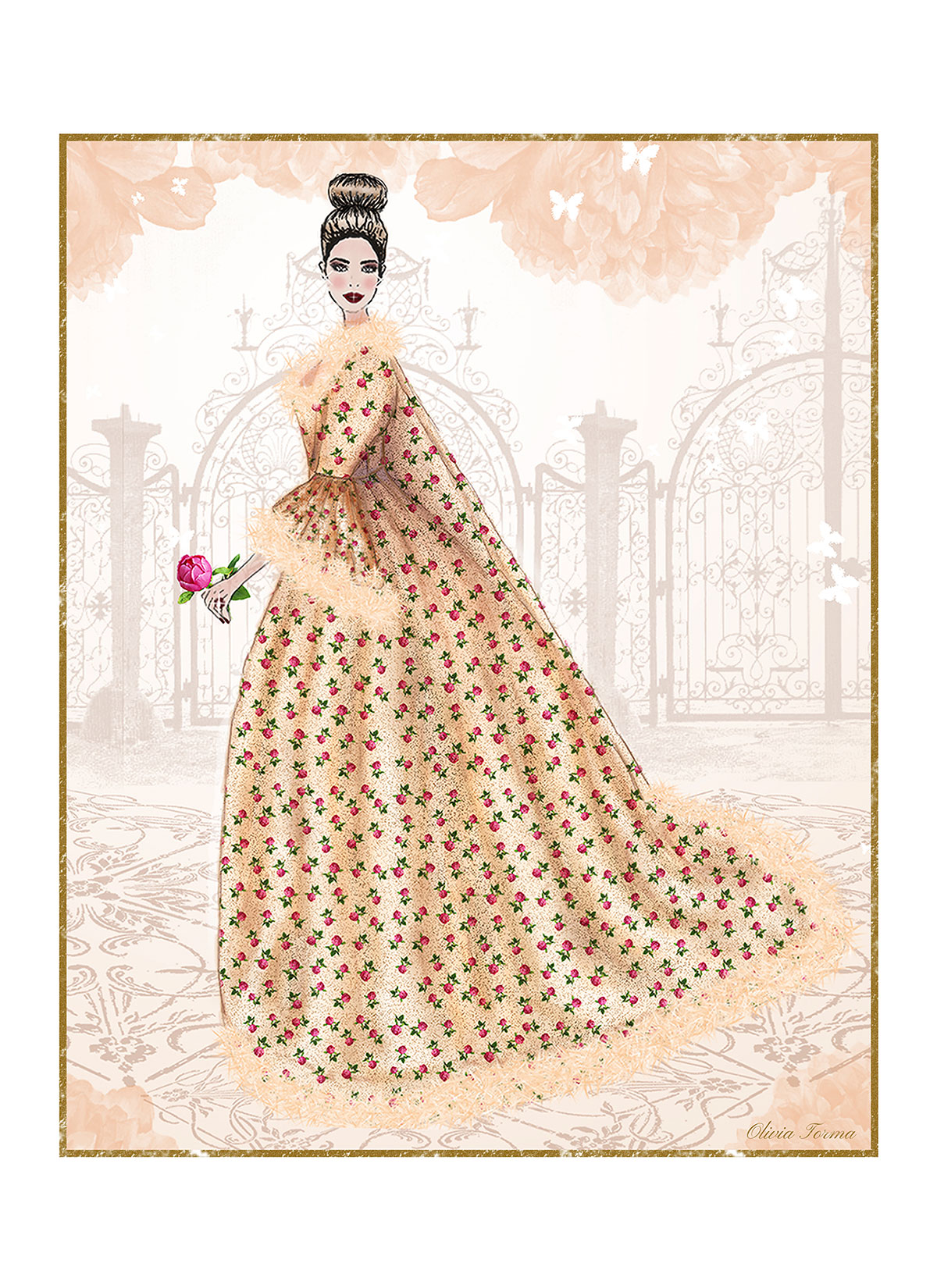 Peony Rose Robe a la Francaise Portrait by The Vintage Couturiere