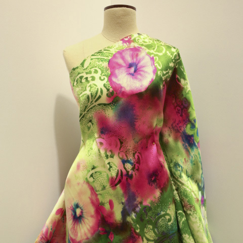 Italian Floral Collage Silk Satin in The Vintage Couturiere's Atelier